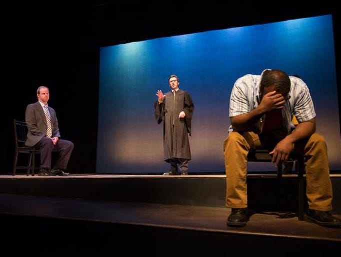 "Tom Byrn, Dan Hodge and Akeem Davis in ""The Exonerated."""