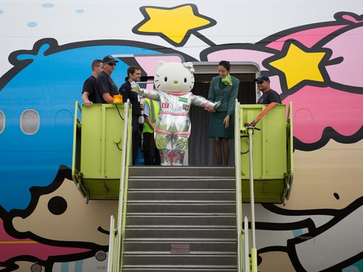 Hello Kitty herself emerges from the brand-new Boeing