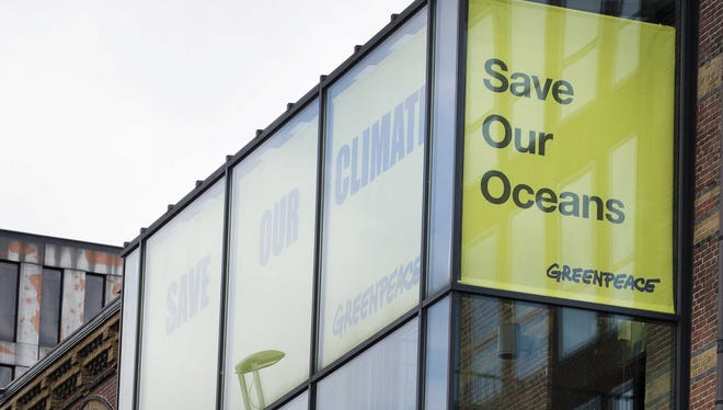 An exterior view of the offices of Greenpeace in Amsterdam, The Netherlands, Sunday.