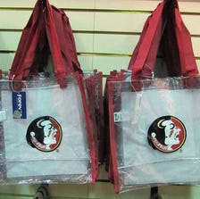 The FSU bookstore sells the clear plastic carry bags allowed in NFL stadiums.