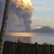 Smoke billows from Mt. Tavurvu after an eruption in Kokopo, east New Britain, Papua New Guinea, Friday.