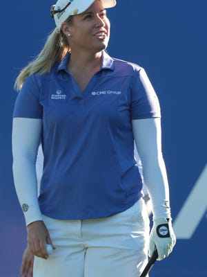 Brittany Lincicome tees off on 1 at the first round of the ANA Inspiration on Thursday, March 29, 2018 at Mission Hills Country Club in Rancho Mirage.