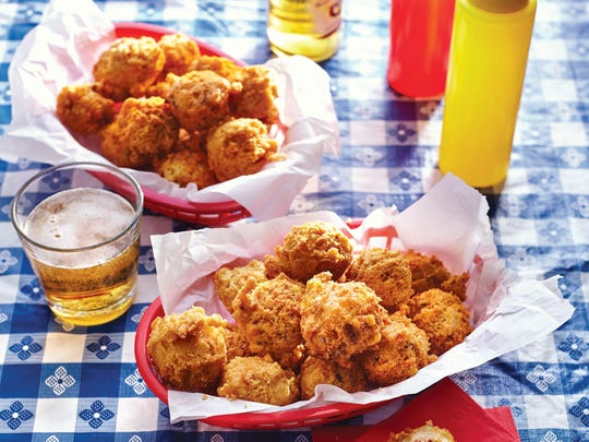 Bacon and Corn Hush Puppies are a deep-fried treat.