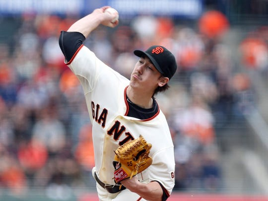 San Francisco Giants starting pitcher Tim Lincecum pitches the ball against the San Diego Padres during the first inning at AT&T Park on Wednesday.
