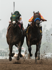 Bolt d'Oro, left, and McKinzie battle down the stretch