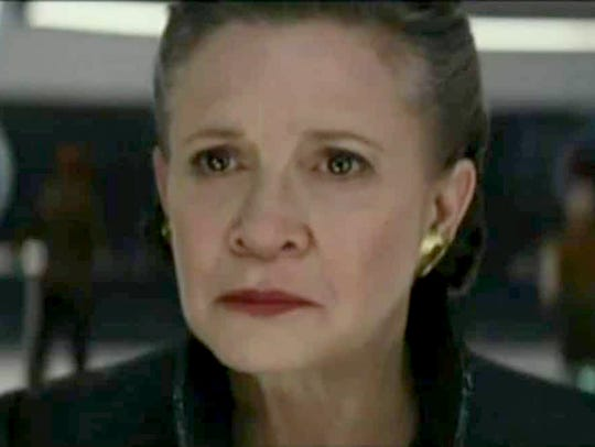 "Carrie Fisher as Leia in ""Star Wars: The Last Jedi."""