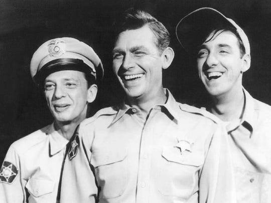 "Don Knotts, from left, as Barney Fife, Andy Griffith as Andy Taylor and Jim Nabors as Gomer Pyle from ""The Andy Griffith Show."""