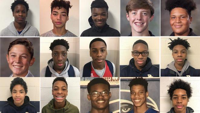 The 2017-18 Rutherford County middle school basketball boys all-county team includes:  Top Row (L-R): Seed Coleman (Blackman), Brennan Oden (Blackman), Carrington Allen (Central Magnet), Jameson Holcomb (Christiana), Dylan Pratt (Eagleville). 2nd Row (L-R): Santonio McDaniels (La Vergne), Kolby Searcy (La Vergne), Marcus Lloyd (La Vergne), Andrew Adams (MTCS), Aleric Watson (MTCS). 3rd Row (L-R): Gaines Haussin (MTCS), Damon Fann (Oakland), Ethan McLaurin (Oakland), Blake Dixon (Rock Springs), Tony Nowlin (Rock Springs). 4th Row (L-R): Jacob Page (Rock Springs), Kevon Ward (Rocky Fork), Elijah Herring (Rockvale), LaMarious Nelson (Rockvale), Tre'Von Bass (Siegel). Bottom Row (L-R): K.J. Lewis (Smyrna), Brandon Connard (Whitworth-Buchanan), Bryce Jackson (Stewarts Creek), Coach Emanuel Chestnutt (Rock Springs).