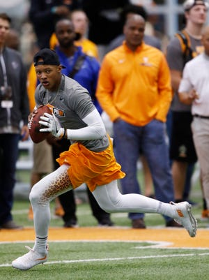 Josh Dobbs competes during the NFL Pro Day at UT Friday, March 32, 2017 in Knoxville, Tenn. (WADE PAYNE/SPECIAL TO THE NEWS SENTINEL)
