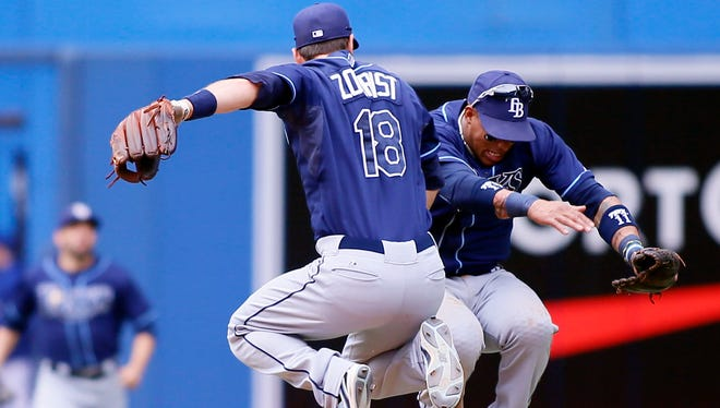 Ben Zobrist and Yunel Escobar celebrate the Rays' win over the Blue Jays on Sunday.