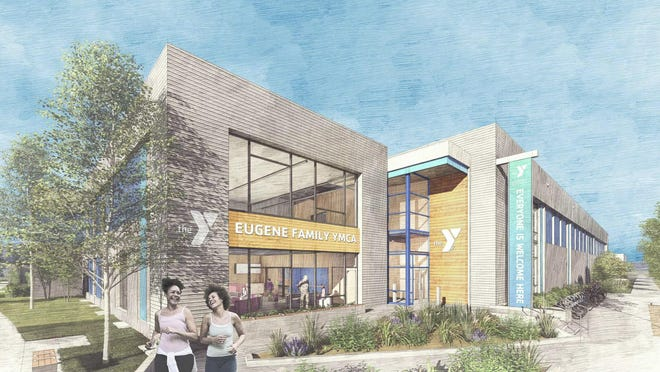 Artist rendering of north entrance of the proposed new Eugene Family YMCA.