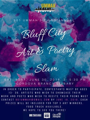 The Bluff City Art and Poetry Slam is 3-5:30 p.m. June 30 in the Cordova Library.