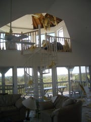 inside of house with 6 feet of missing soffit