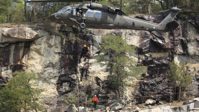In June 2013, the NC National Guard helped the National Parks Service to rescue a hiker injured in Great Smoky Mountains National Park. Hiker Nathan Lipsom, 53 of Cambridge, Mass., was injured when a large tree fell on him.