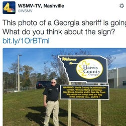 A Georgia sheriff installed a politically incorrect sign in Harris County.
