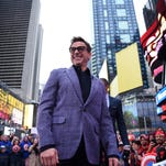 """Robert Downey Jr. attends a promotional event for  Marvel's """"Avengers: Age of Ultron"""" in New York."""