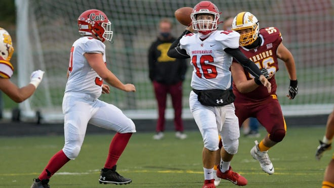 Westerville South senior quarterback Peter Pedrozo looks to pass against Westerville North during last Friday's 32-28 road win.