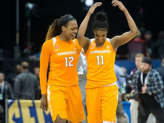 Tennessee's Bashaara Graves, left, and Diamond DeShields celebrate after a recent win. The Volunteers play Ohio State  Friday night.