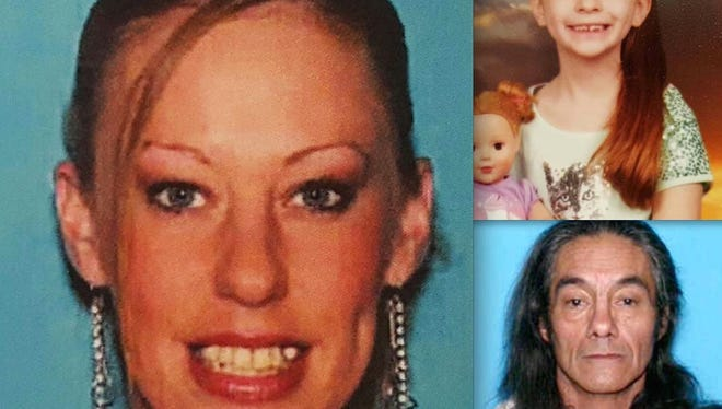 Hamburg Police said missing mother, Amanda Hayward, left, and her 7-year-old daughter, Sapphire Palmer, top right, are traveling with Douglas Steven Stanko, a registered sex offender.