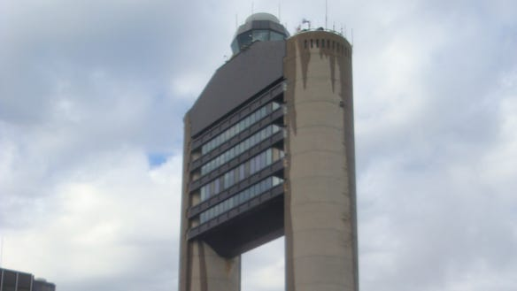 The control tower at Boston Logan International Airport