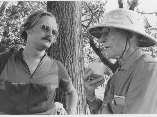 Clarence Pickard, right, who was then 83, wore a pith helmet on the first RAGBRAI in 1973; left is ride co-founder Donald Kaul.