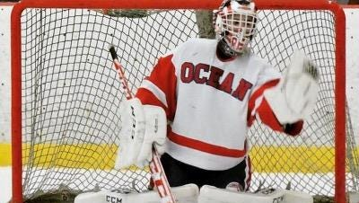 Spencer Reu of Ocean makes a save against Wall.