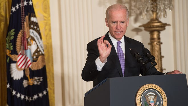 "US Vice President Joe Biden speaks at the launch of the ""It's On Us"" campaign to prevent sexual assault on college campuses at the White House in Washington on September 19, 2014.   AFP PHOTO/Nicholas KAMM        (Photo credit should read NICHOLAS KAMM/AFP/Getty Images)"
