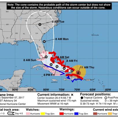 Hurricane Irma, 11 a.m., Sept. 7.