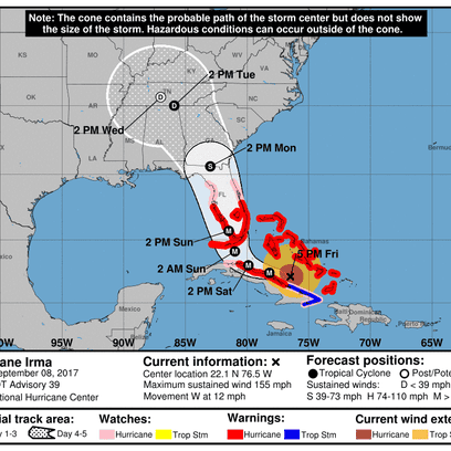 Projected path of Hurricane Irma as of 5 p.m. Friday,