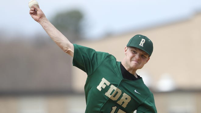 Franklin D. Roosevelt High School's Mitchel Oakley delivers a pitch against North Rockland in Hyde Park on  April 15.