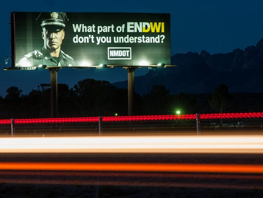 A New Mexico Department of Transportation billboard
