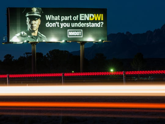 A New Mexico Department of Transportation billboard advertising an end to DWIs is posted along Interstate 10 westbound near the Mesquite exit on Monday. A national vehicle insurance website that examines key statistics related to fatal vehicle crashes noted New Mexico ranked 10th worst in the drunken driving category.