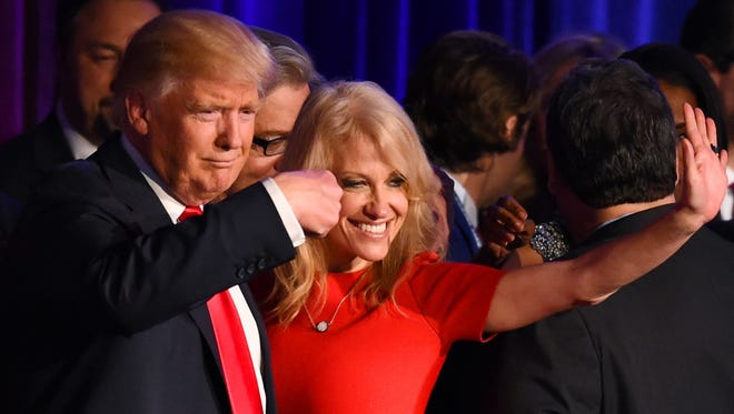 Donald Trump and Kellyanne Conway in a Nov. 9, 2016, file photo.