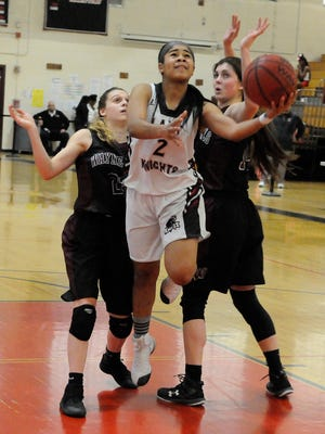 Kennedy senior guard Latice Cunningham goes up for a basket in the second-seeded Lady Knights' 47-37 win over No. 3 Wayne Hills in the Passaic County tournament semifinals on Saturday. Cunningham finished with 11 points.