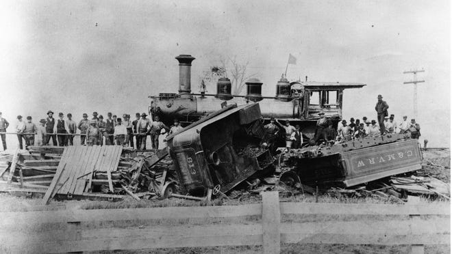 Yes, it really was a train wreck in this case. This happened at Hooker Station in about 1900.