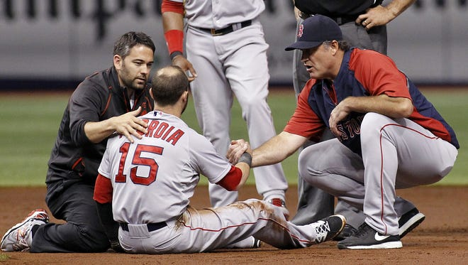 Dustin Pedroia left the game in the second inning after taking an elbow to the head.