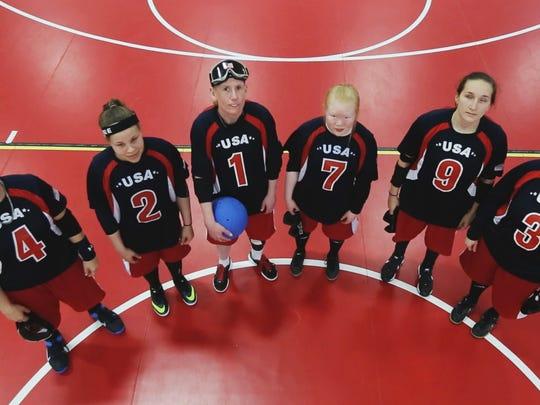 The United States goalball team (left to right): Asya Miller, Amanda Dennis, Jen Armbruster, Marybai Huking, Eliana Mason and Lisa Banta Czechowski.