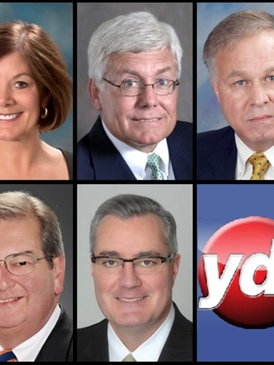 2015 candidates for York County Board of Commissioners. Left to right from top to bottom: Susan Byrnes, R; Steve Chronister, I; Doug Hoke, D; Henry Nixon, D; Chris Reilly, R.