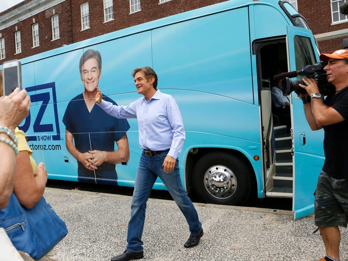 Dr. Mehmet Oz arrives in Nyack to film a segment for The Dr. Oz Show at Veteran's Park, Aug. 23, 2014 in Nyack. Dr. Oz answered questions and talked about bringing healthy back. He also visited Flour Buds Bakery and the Nyack Farmers Market.