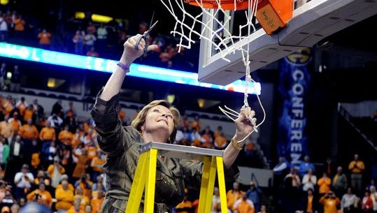 Pat Summit cut down the nets for the last time after Tennessee won the SEC Tournament at Bridgestone Arena in 2012.