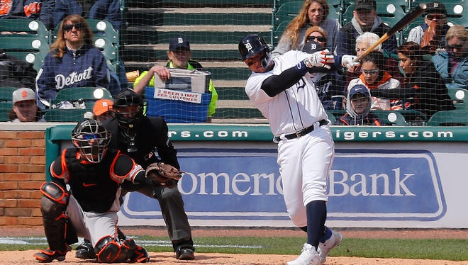 Tigers first baseman Miguel Cabrera hits a solo home run in the sixth inning of the Tigers' 6-5 win over the Orioles on Wednesday, April 18, 2018, at Comerica Park.