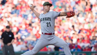 May 27, 2017; Philadelphia, PA, USA; Cincinnati Reds relief pitcher Michael Lorenzen (21) pitches against the Philadelphia Phillies ninth inning at Citizens Bank Park. Mandatory Credit: Bill Streicher-USA TODAY Sports
