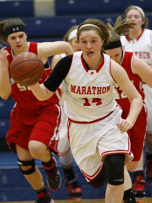 Marathon's Morgan Ruchu drives the ball down the court during Thursday night's WIAA Division 4 girls basketball sectional semifinal at Wausau West.