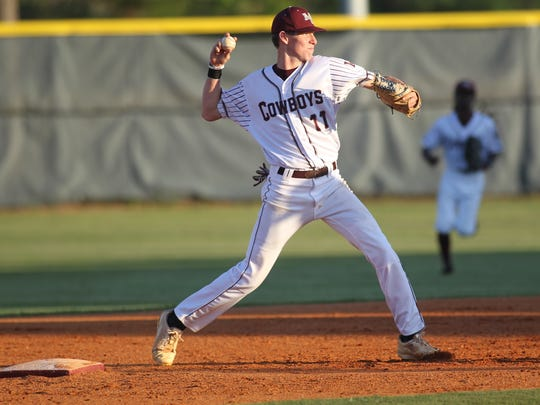 Madison County shortstop Dilan Lawson makes a throw to first.