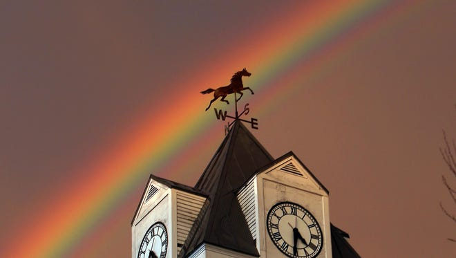 A double rainbow appeared over Clocktower Commons in Brewster on Sunday.