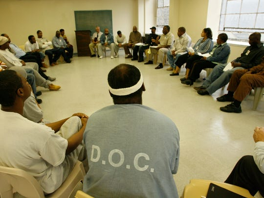 Inmates at the Metropolitan Transition Center in Baltimore.