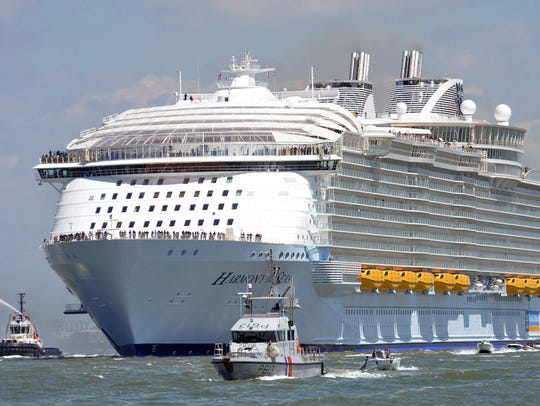 The Harmony of the Seas will be based at Port Canaveral starting in May 2019.  The 1,187-foot-long ship cost $1 billion and carries 8,500 passengers and crew.
