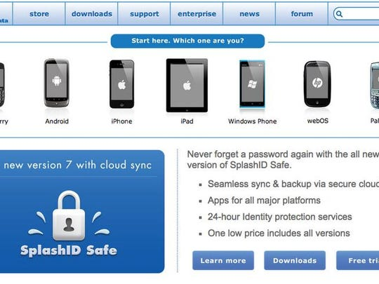 Home page for SplashID.com, which provides password management services.