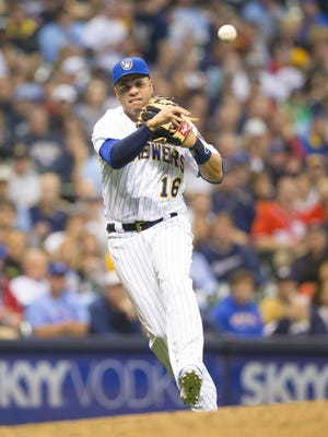 Milwaukee Brewers third baseman Aramis Ramirez (16) throws to first base during the fourth inning against the Washington Nationals at Miller Park in Milwaukee on Friday, June 12.