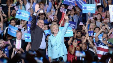 Hillary Clinton and Sen. Tim Kaine rally in Miami on July 23, 2016.
